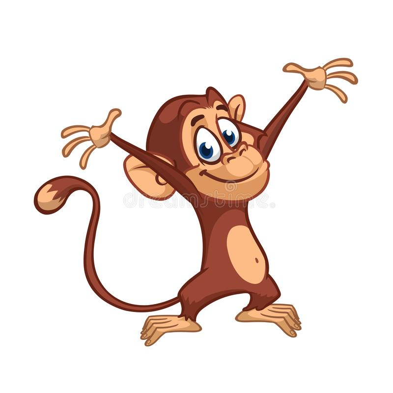 Leuke kleine de stijgingshanden van de chimpanseeaap De illustratie van het beeldverhaal stock illustratie