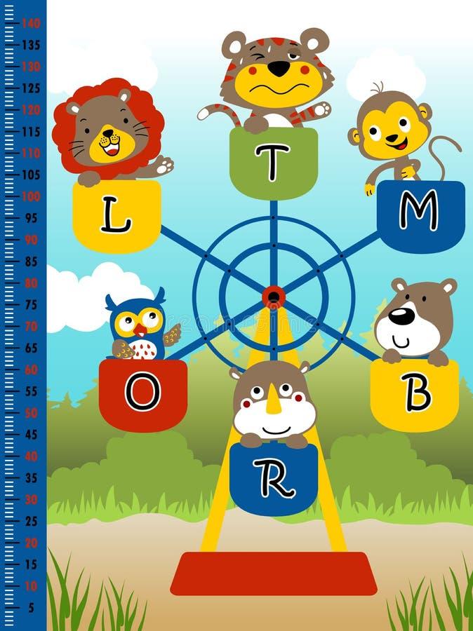 Leuke kleine dieren die carrousel spelen stock illustratie