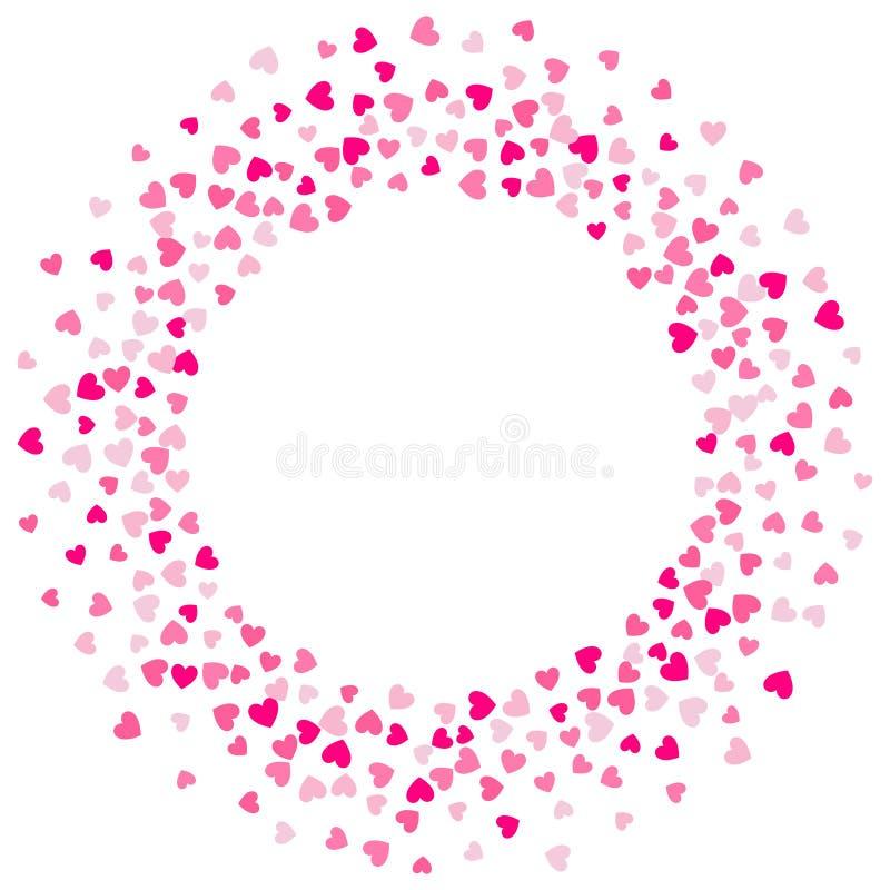 Leuke kleine hartenachtergrond, willekeurige orde, verschillende grootte en kleuren stock illustratie