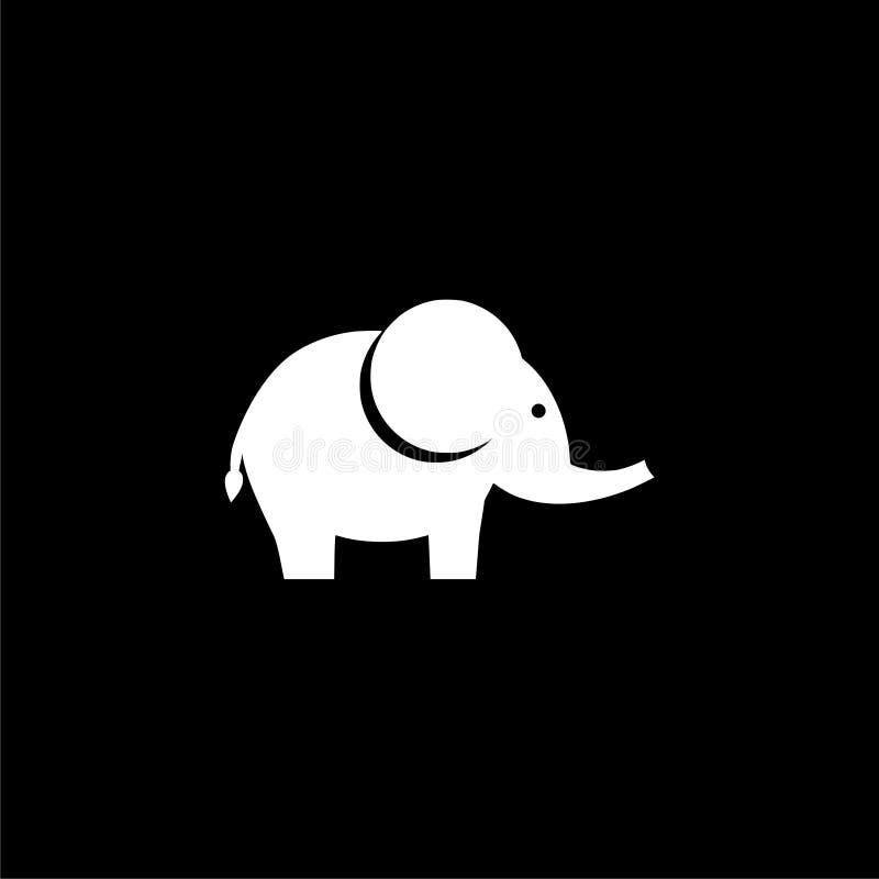 Leuke kleine, het pictogram van de babyolifant of embleem op donkere achtergrond stock illustratie