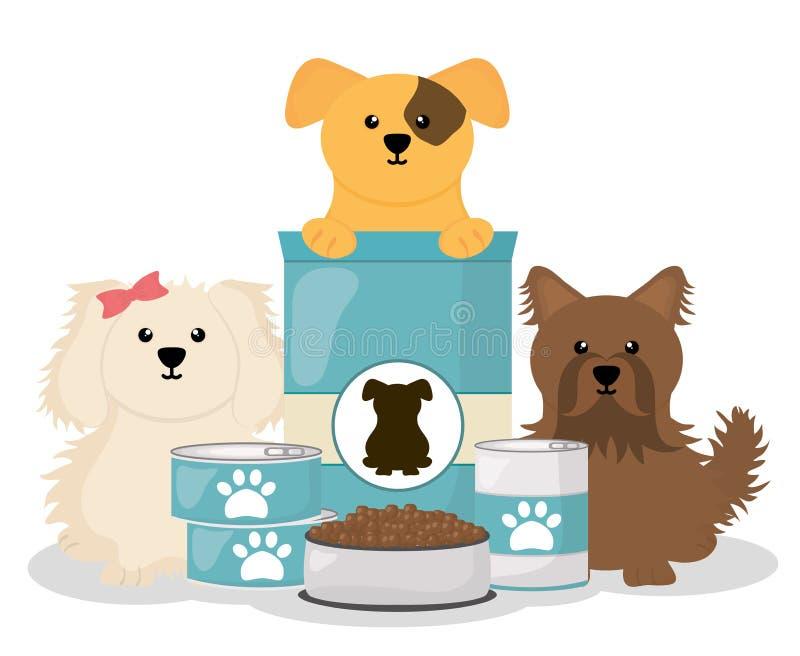 Leuke kleine honden met voedsel royalty-vrije illustratie