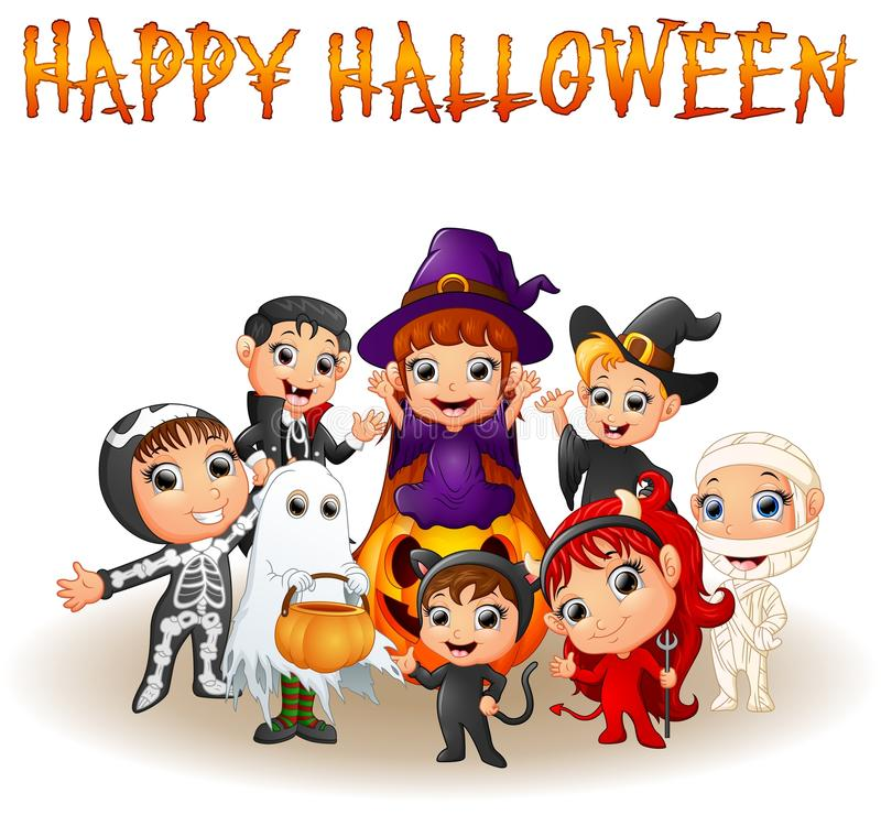 Leuke kleine jonge geitjes die Halloween-kostuums dragen royalty-vrije illustratie