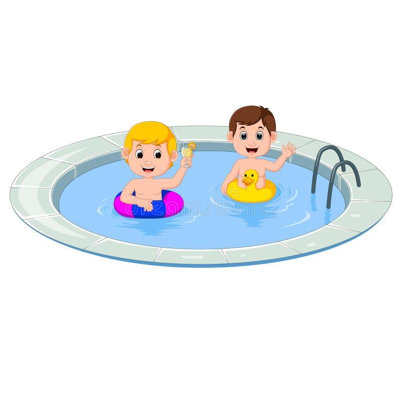 Leuke kleine jonge geitjes die met opblaasbare cirkel zwemmen royalty-vrije illustratie