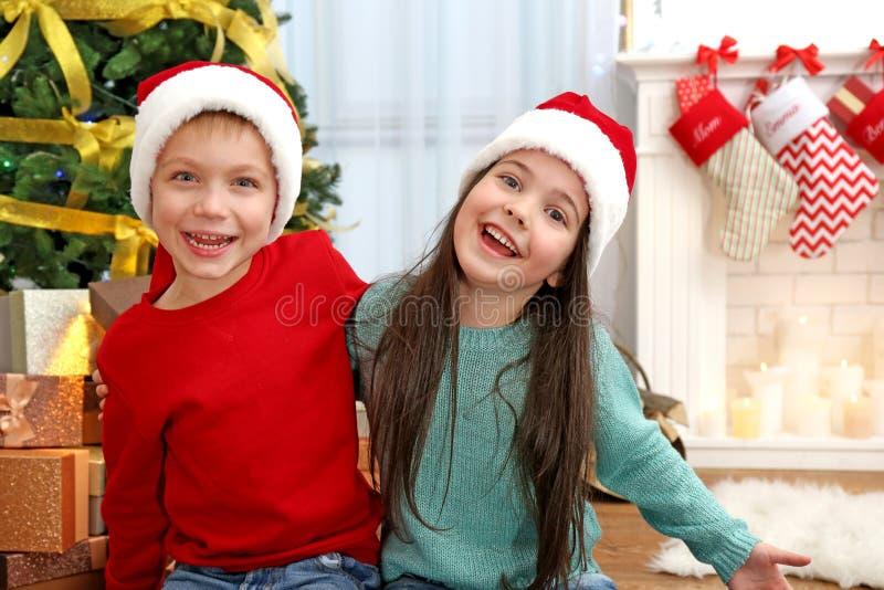 Leuke kleine jonge geitjes in Kerstmanhoeden stock afbeeldingen