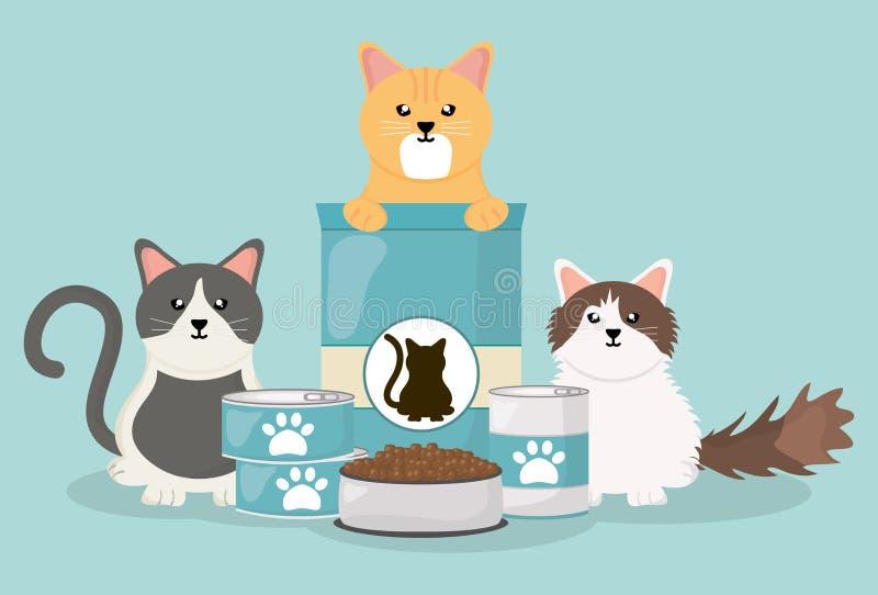 Leuke kleine katten met voedsel royalty-vrije illustratie