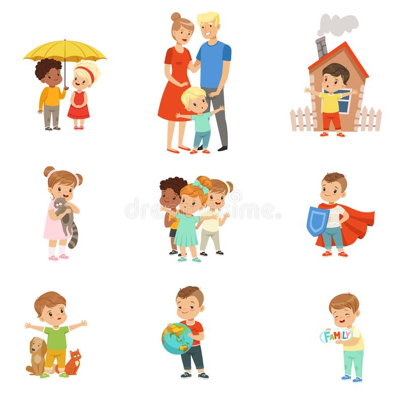 Leuke kleine kinderen die hun familie, vrienden, dieren en de planeet vastgestelde vectorillustraties op een wit beschermen vector illustratie