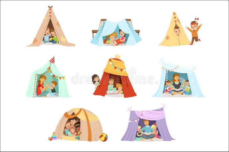 Leuke kleine kinderen die met een tipitent spelen die, voor etiketontwerp wordt geplaatst Het beeldverhaal detailleerde kleurrijk vector illustratie