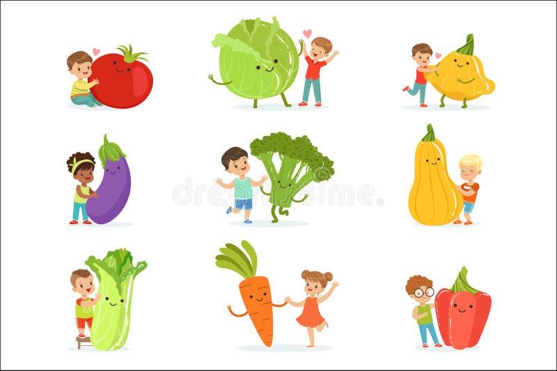 Leuke kleine kinderen die pret hebben en met grote die groenten spelen, voor etiketontwerp worden geplaatst Kleurrijke beeldverha royalty-vrije illustratie