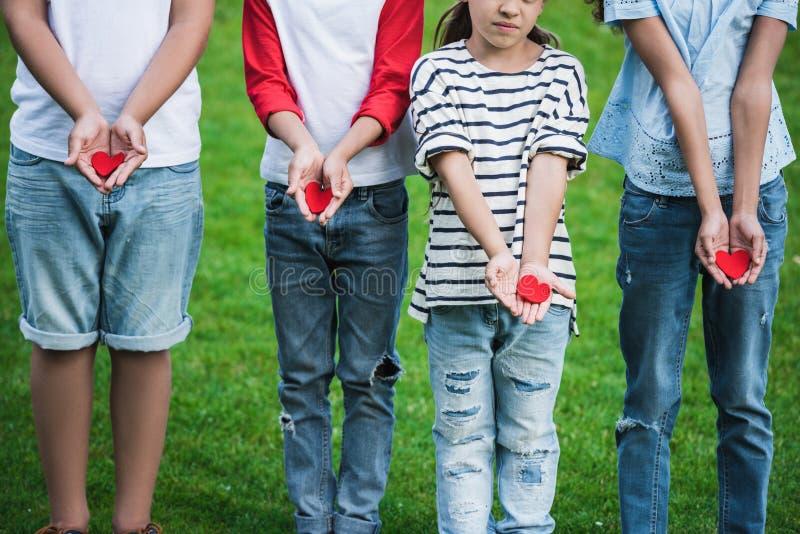 Leuke kleine kinderen die rode harten houden terwijl status op groen gras royalty-vrije stock afbeelding