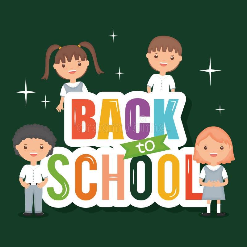 Leuke kleine studenten met terug naar schoolbericht vector illustratie
