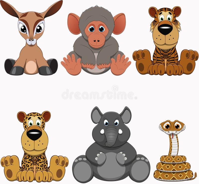 Leuke kleurrijke exotische diereninzameling vector illustratie