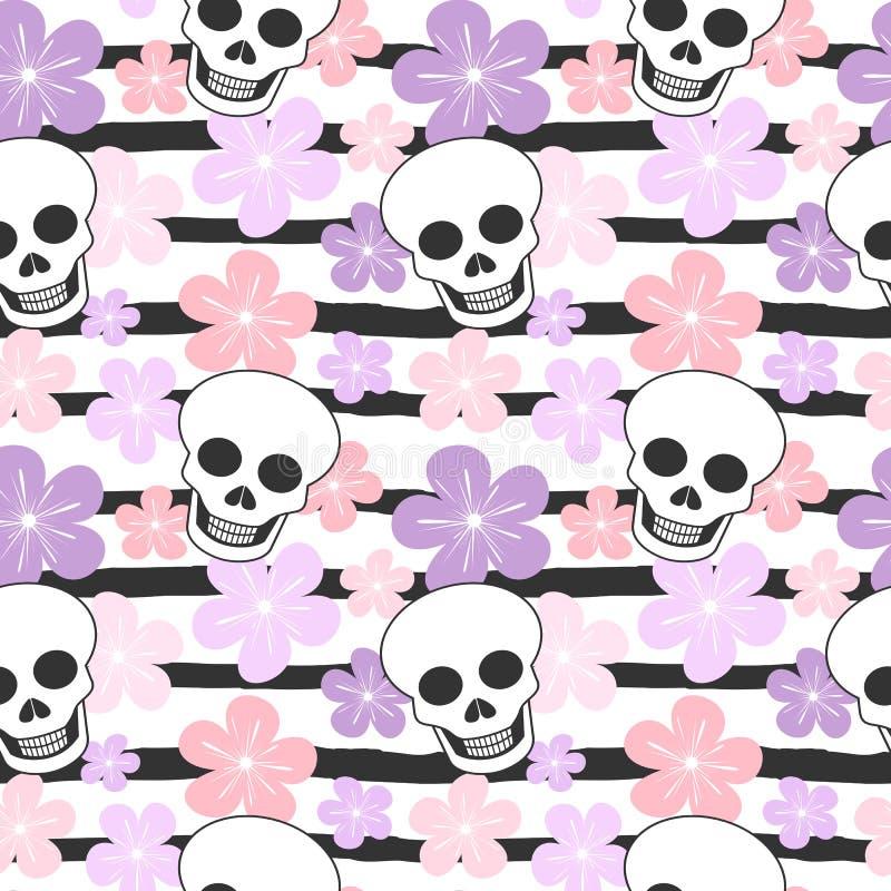 Leuke kleurrijke gestreepte naadloze vectorpatroonillustratie als achtergrond met schedels en bloemen royalty-vrije illustratie