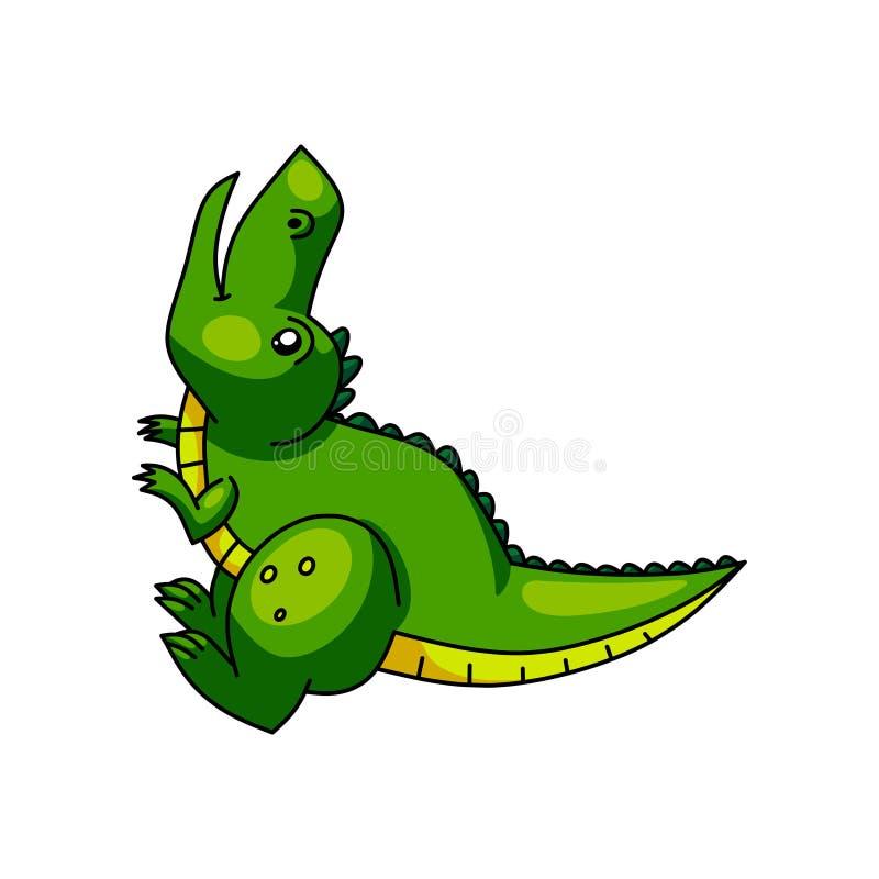 Leuke kleurrijke groene Dino die, hoofd omhoog gillen royalty-vrije illustratie