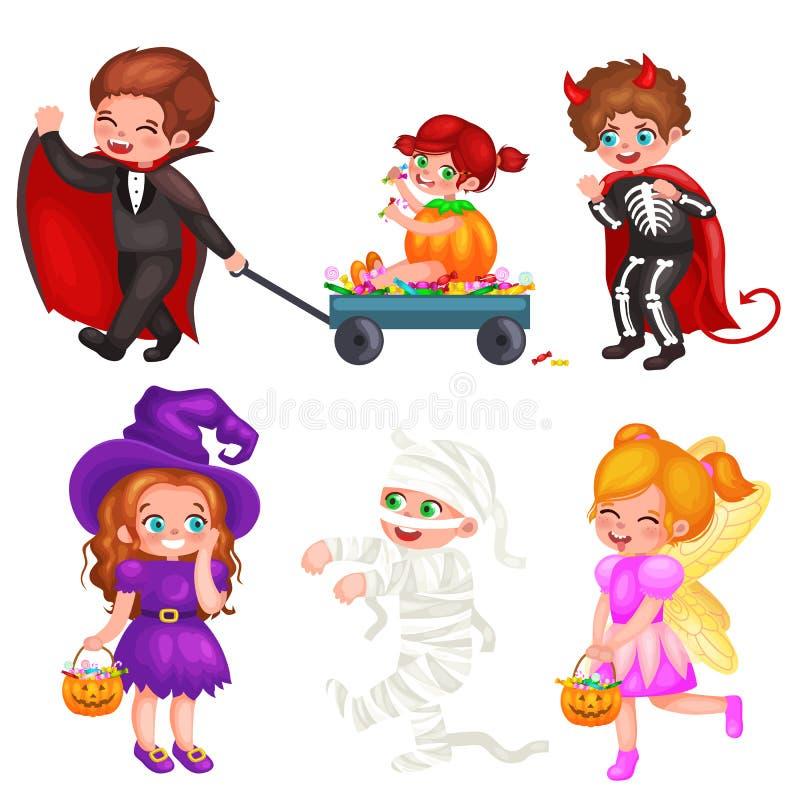 Leuke kleurrijke Halloween-jonge geitjes in kostuum voor partij vastgestelde vectorillustratie royalty-vrije illustratie