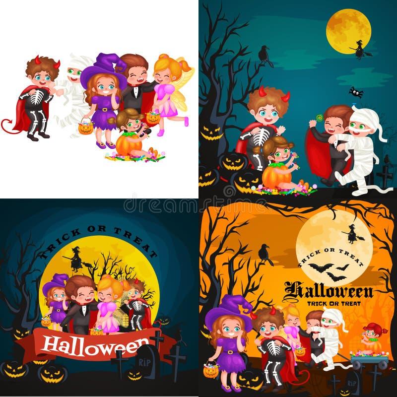 Leuke kleurrijke Halloween-jonge geitjes in kostuum voor partij vastgestelde vectorillustratie vector illustratie