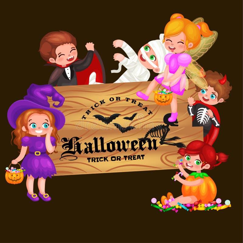 Leuke kleurrijke Halloween-jonge geitjes in kostuum voor partijreeks geïsoleerde vectorillustratie royalty-vrije illustratie