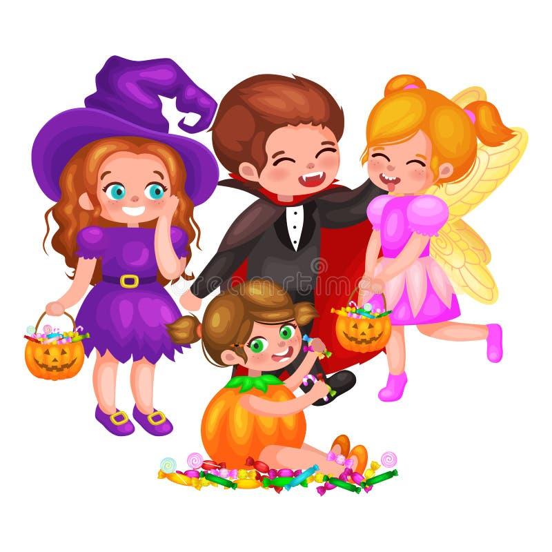 Leuke kleurrijke Halloween-jonge geitjes in kostuum voor partijreeks geïsoleerde vectorillustratie stock illustratie