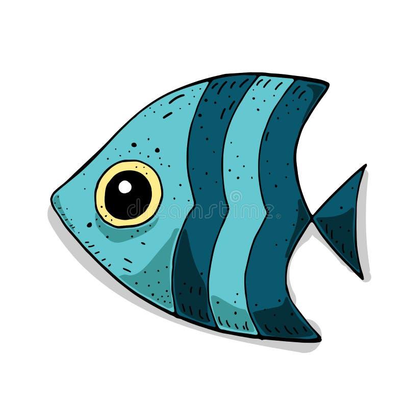 Leuke kleurrijke illustratie met beeldverhaal overzeese vissen Vector Marien thema vector illustratie
