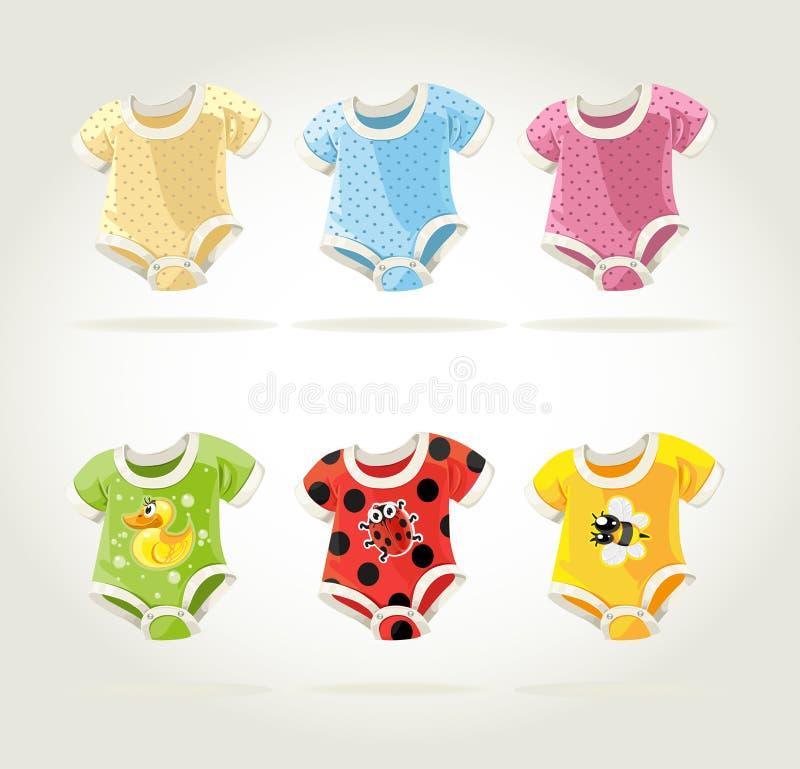 Leuke kleurrijke kostuums voor babys met pretaf:drukken stock illustratie