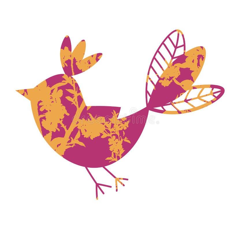 Leuke kleurrijke tropische vliegende vogel met bloemendieornament op witte achtergrond wordt geïsoleerd vector illustratie