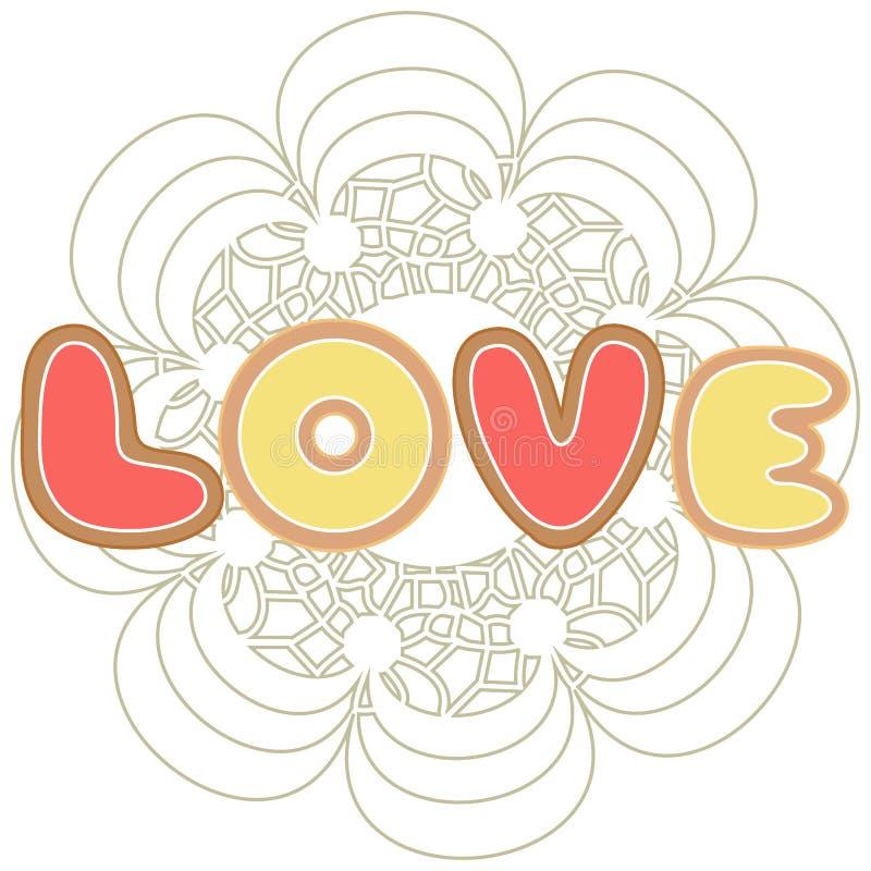 Leuke kleurrijke vectorillustratie van liefdesymbolen: peperkoek i stock illustratie