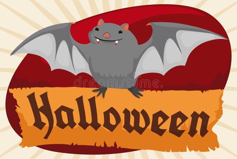 Leuke Knuppel die en een Document Rol vliegen houden voor Halloween, Vectorillustratie stock illustratie