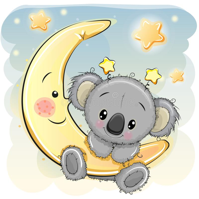 Leuke Koala op de maan stock illustratie