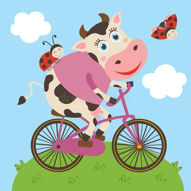 Leuke koe en lieveheersbeestjerittenfiets stock illustratie