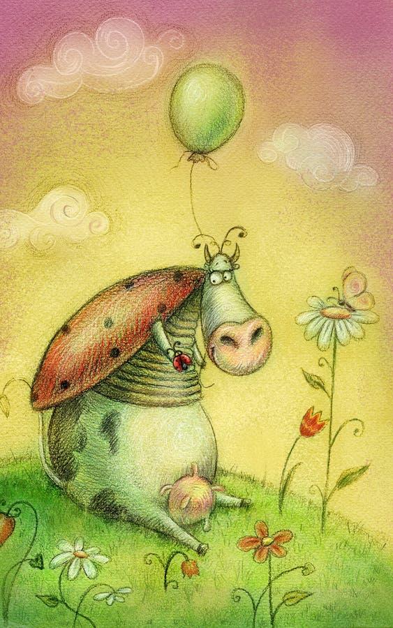 Leuke koe met ballon Kinderenillustratie Beeldverhaal kinderachtige achtergrond in uitstekende kleuren stock illustratie