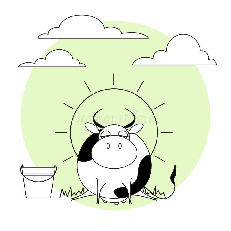 Leuke koe met melkemmer Gras, zon en wolken royalty-vrije stock foto's