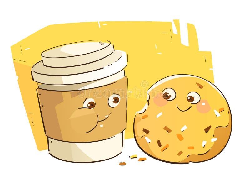 Leuke Koffiekop en Doughnut stock illustratie
