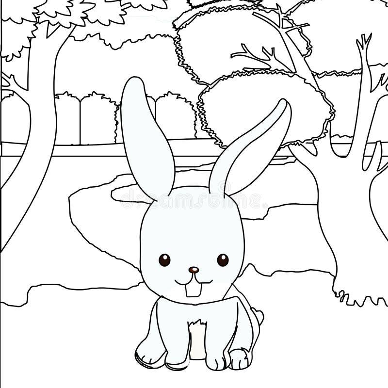 Leuke konijn kleurende pagina royalty-vrije illustratie