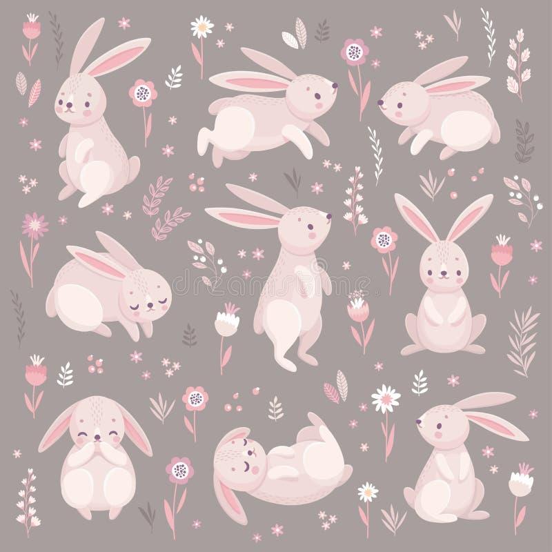 Leuke konijnen die, runnung, het zitten slapen mooi royalty-vrije illustratie