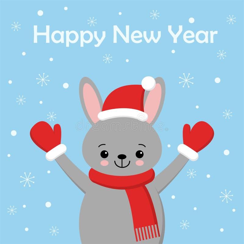 Leuke konijnkaart Santa Claus-hoed op konijntjes vectorillustratie Nieuwjaar vierkante banner met het glimlachen van konijntje He royalty-vrije illustratie