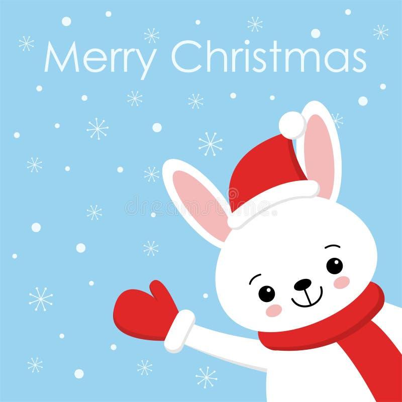 Leuke konijnkaart Santa Claus-hoed op konijntjes vectorillustratie Nieuwjaar vierkante banner met het glimlachen van konijntje De vector illustratie