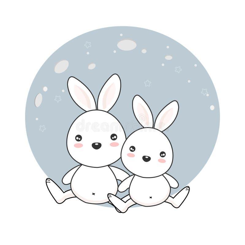 Leuke konijntjes op de maan stock afbeelding