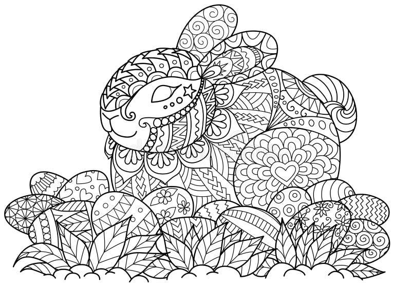Leuke konijntjeszitting op Estereieren vector illustratie