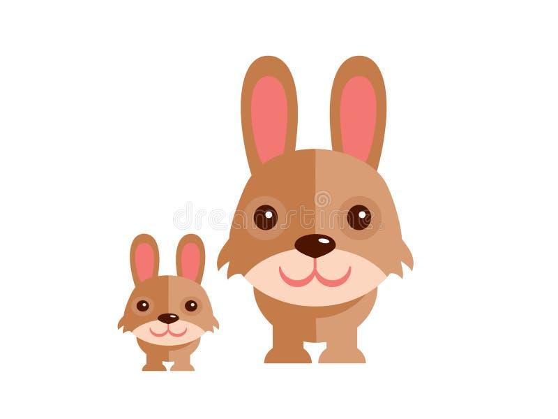Leuke konijnvector op een witte achtergrond royalty-vrije illustratie