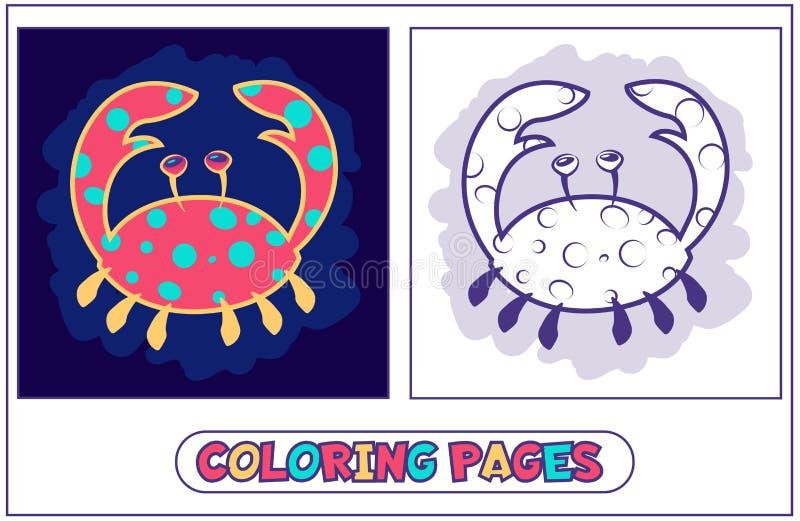 Leuke krab kleurende pagina's vector illustratie
