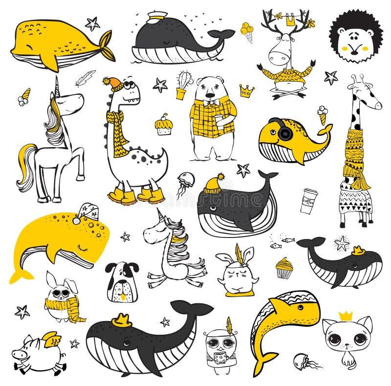 Leuke krabbel hipster dieren royalty-vrije illustratie