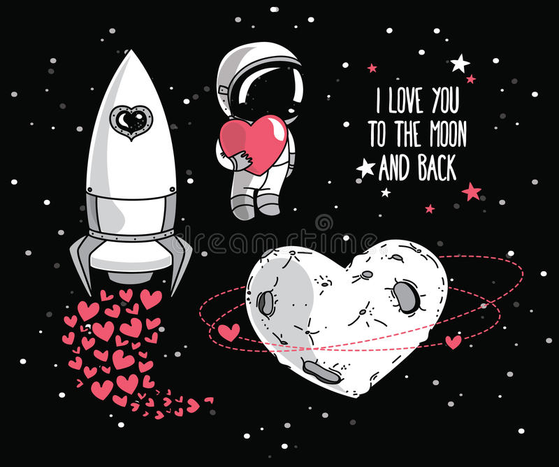 Leuke krabbel kosmische elementen voor de dagontwerp van de valentijnskaart stock foto's