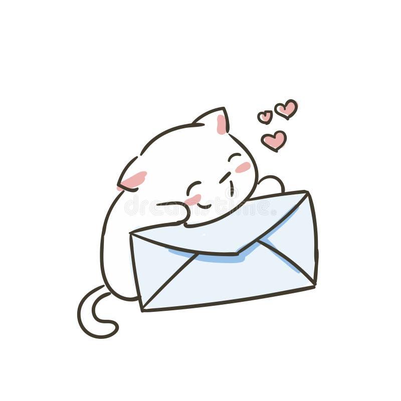 Leuke krabbel weinig geïsoleerde katten vectorschets stock illustratie