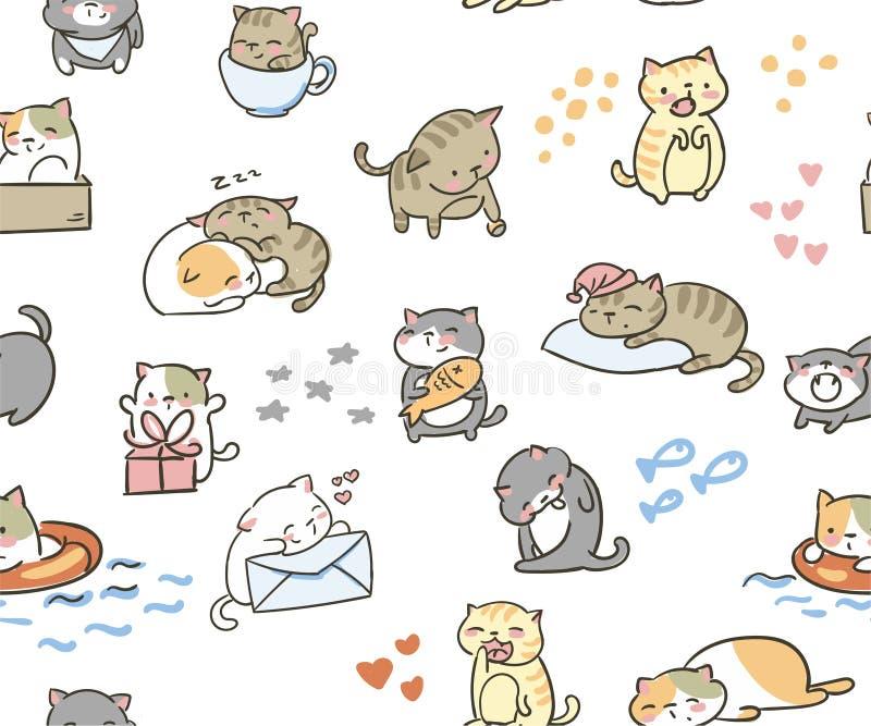 Leuke krabbel weinig katten vector naadloos patroon vector illustratie