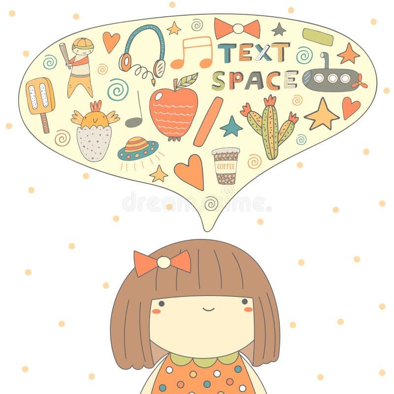 Leuke krabbelkaart, prentbriefkaar met meisje die over verschillende dingen denken royalty-vrije illustratie