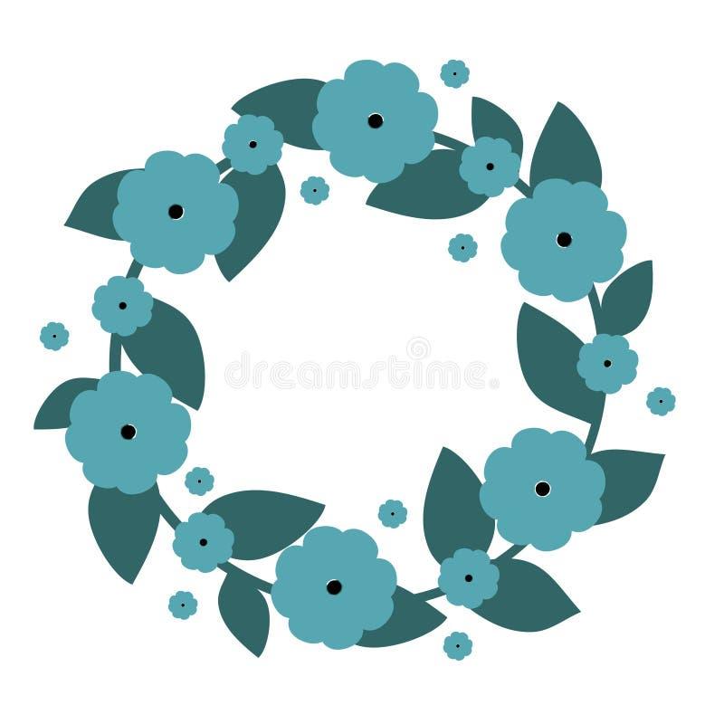 Leuke kroon met blauwe bloemen Vectorkroon Vector illustratie vector illustratie