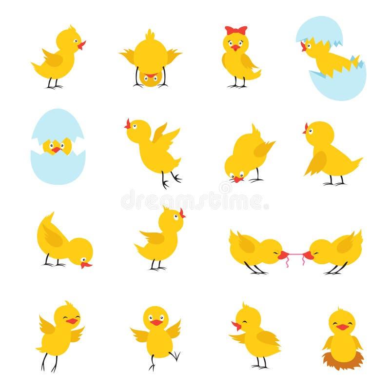 Leuke Kuikens De babykippen van beeldverhaalpasen met eieren Grappige gele kuikenvector geïsoleerde karakters vector illustratie