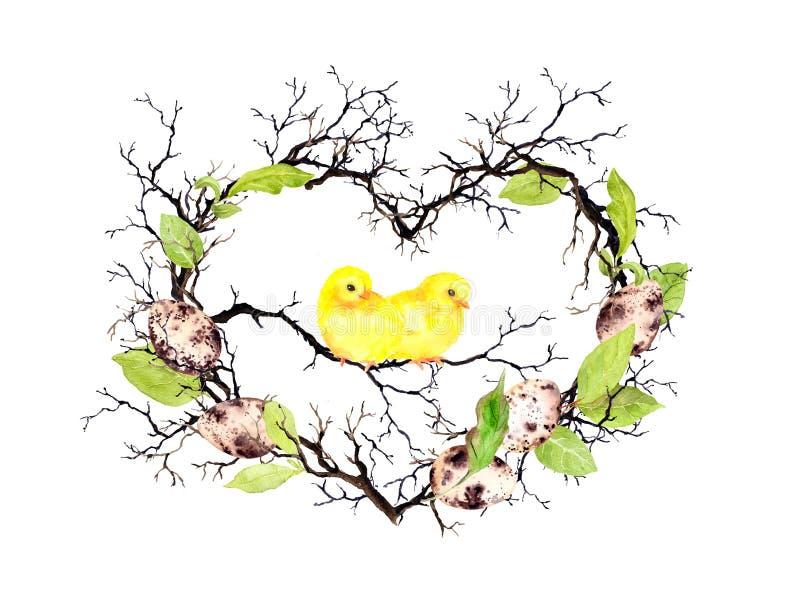 Leuke kuikens, paaseieren, takken en de lentebladeren De vorm van het hart Waterverf bloemenkroon voor Pasen royalty-vrije stock foto