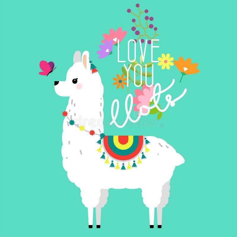 Leuke lama en alpacaillustratie voor kinderdagverblijfontwerp, affiche, groet, verjaardagskaart, het ontwerp van de babydouche en vector illustratie