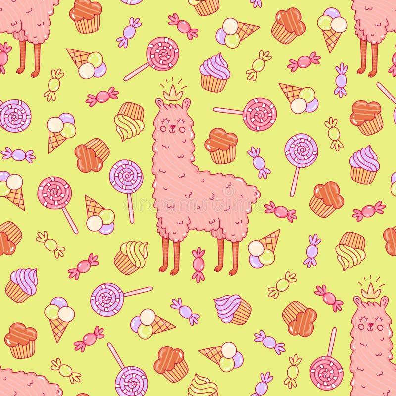 Leuke lama en snoepjes naadloos vectorpatroon royalty-vrije illustratie