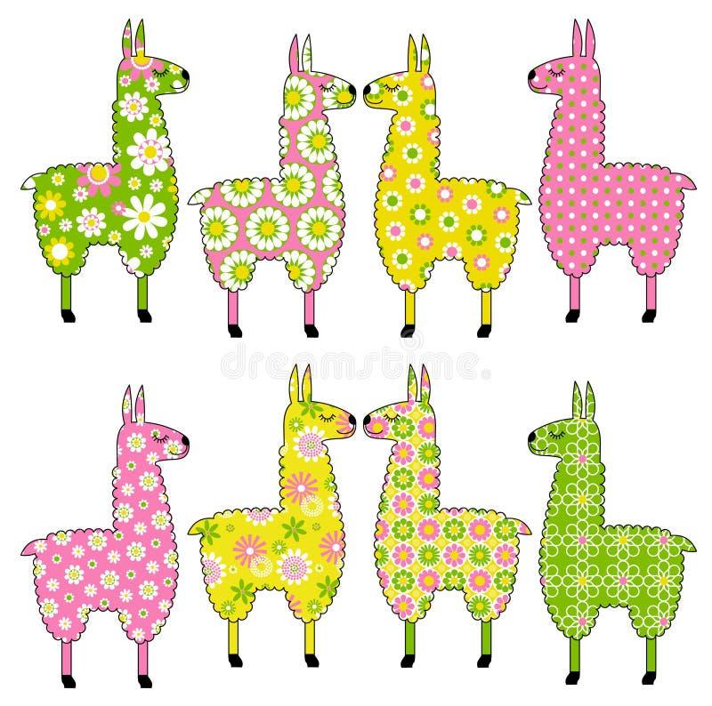 Leuke lama's met patronen vector illustratie